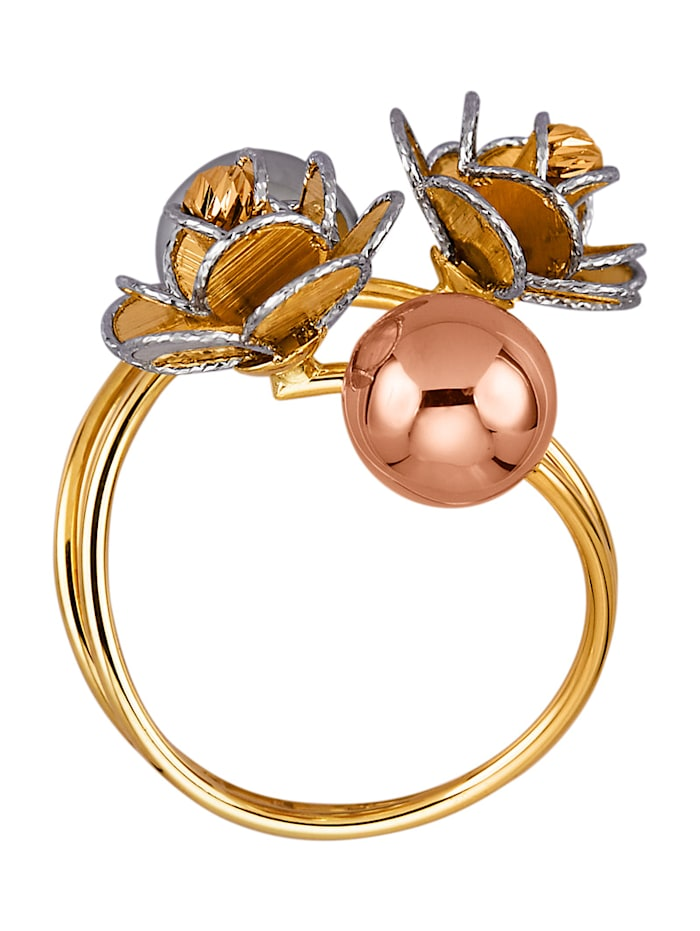 Blomformad ring i gult guld, vitguld och roséguld 14 k