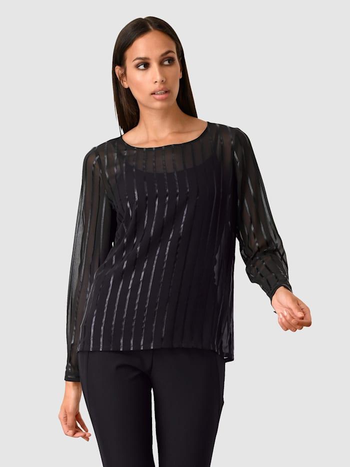 Alba Moda Bluse i transparent materiale, Svart
