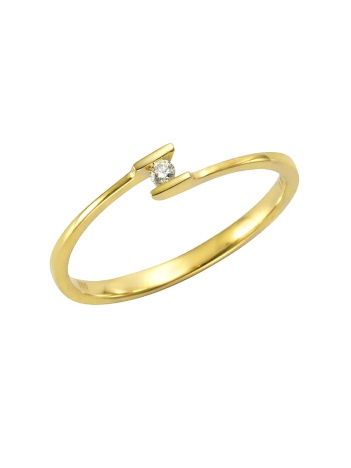 Orolino Ring 585/- Gold Brillant weiß Brillant Glänzend 0.03Karat 585/- Gold, gelb