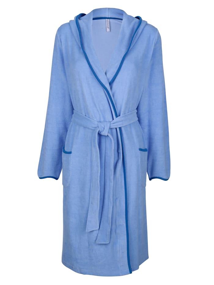 Badjas met contrasterende paspels, Lichtblauw