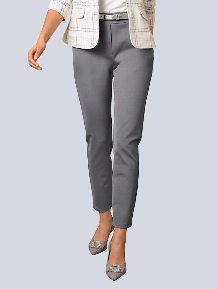 Alba Moda Hose mit Schmucksteinchen an den Taschen, Grau