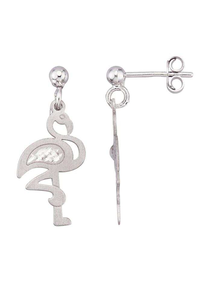 Oorbellen Flamingo van echt zilver, Zilverkleur
