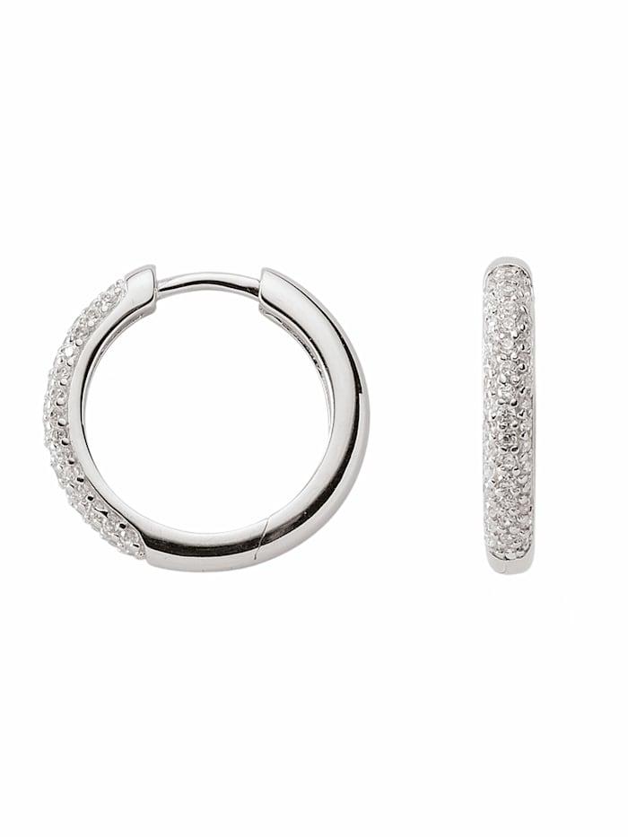 1001 Diamonds 1001 Diamonds Damen Silberschmuck 925 Silber Ohrringe / Creolen mit Zirkonia Ø 18,1 mm, silber