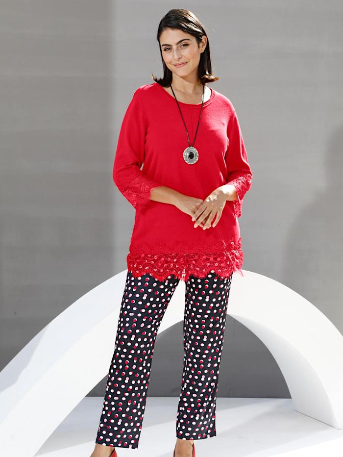 Pullover mit floralem Spitzenbesatz