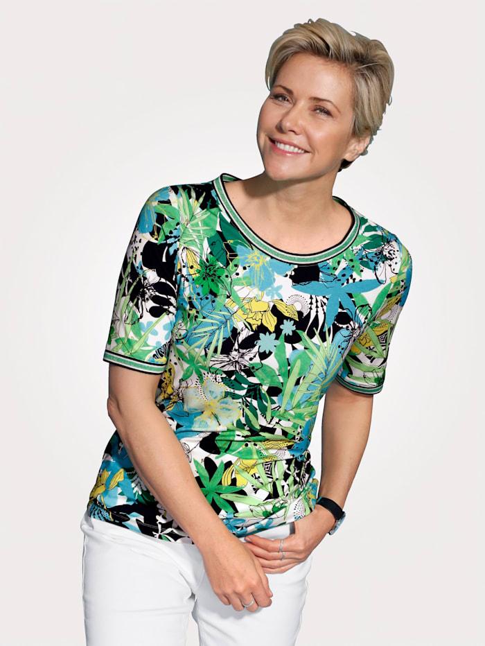 Rabe T-shirt à imprimé fleuri, Vert/Jaune/Bleu