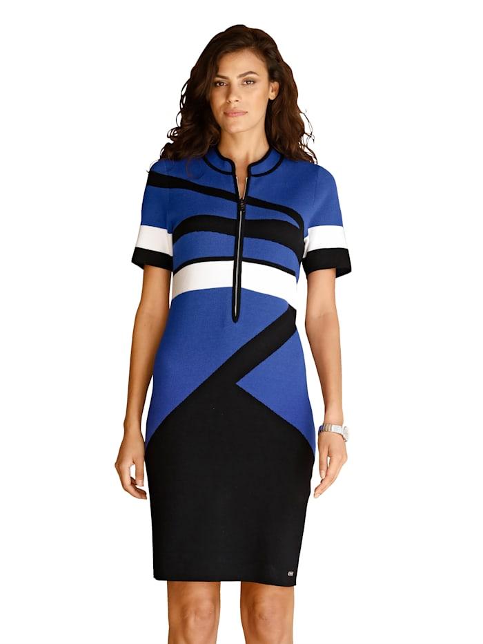 AMY VERMONT Gebreide jurk met grafisch patroon, Royal blue/Zwart/Wit
