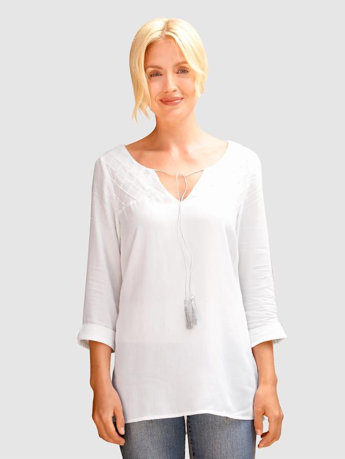 Paola Blouse avec surpiqûres d'aspect losange, Blanc