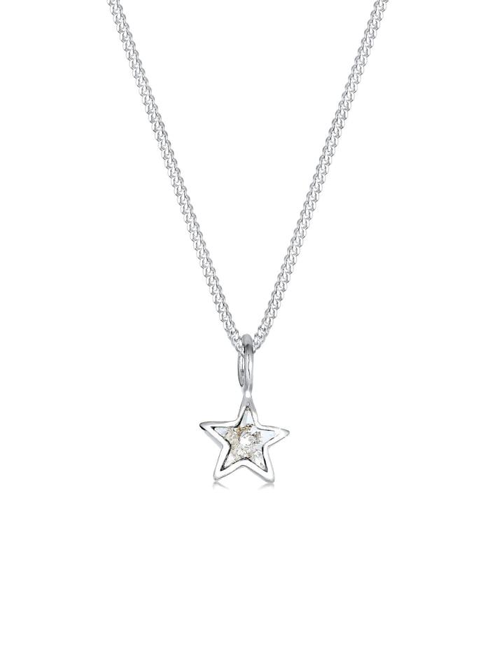 Elli Halskette Stern Kristalle 925 Sterling Silber, Weiß