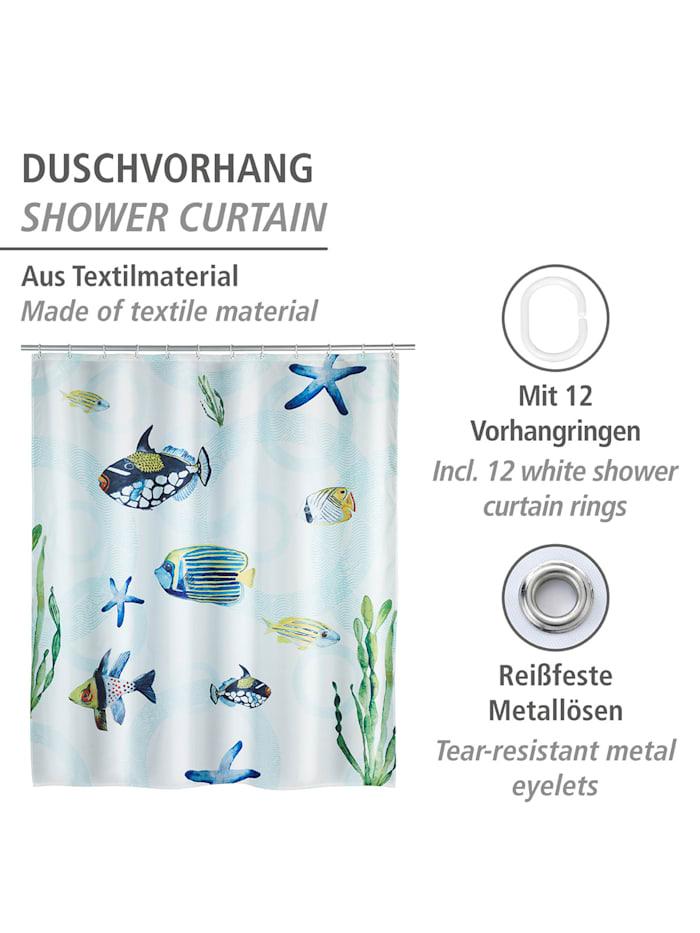 Duschvorhang Aquaria, Textil (Polyester), 180 x 200 cm, waschbar