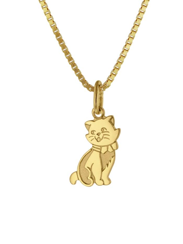 trendor Anhänger Katze Gold 333 (8 Karat) + goldplattierte Silberkette, Goldfarben