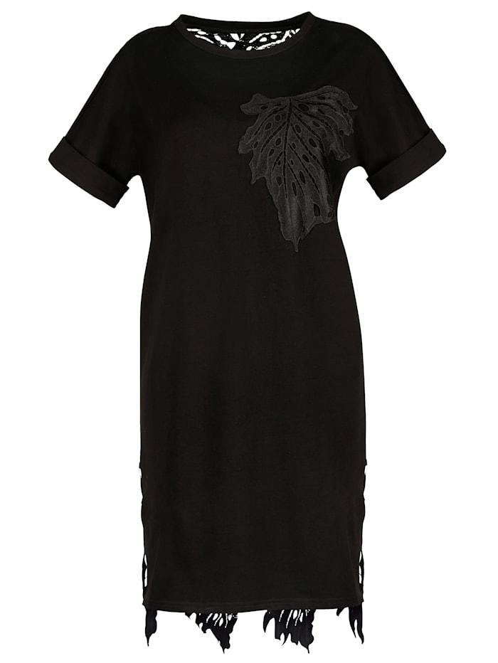 AMY VERMONT Longshirt mit Rückenteil aus transparenter Spitze, Schwarz