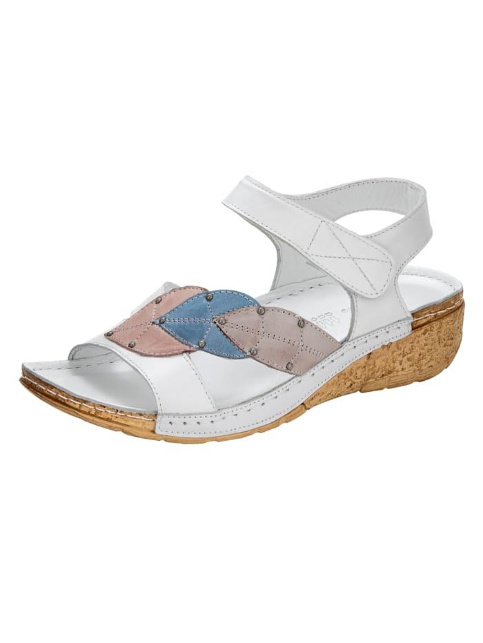 Gemini Wedge sandals with leaf appliqué, White