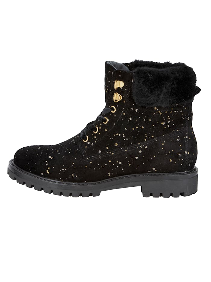 Lace-up Boots with shimmering polka dots
