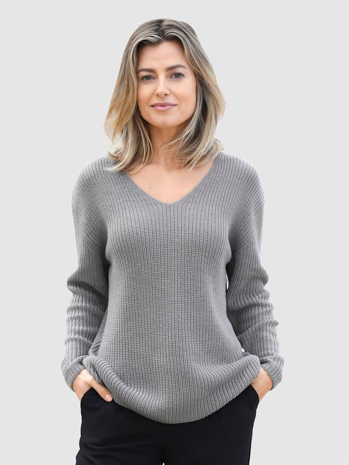 basically you Pullover mit überschnittener Schulter, Grau