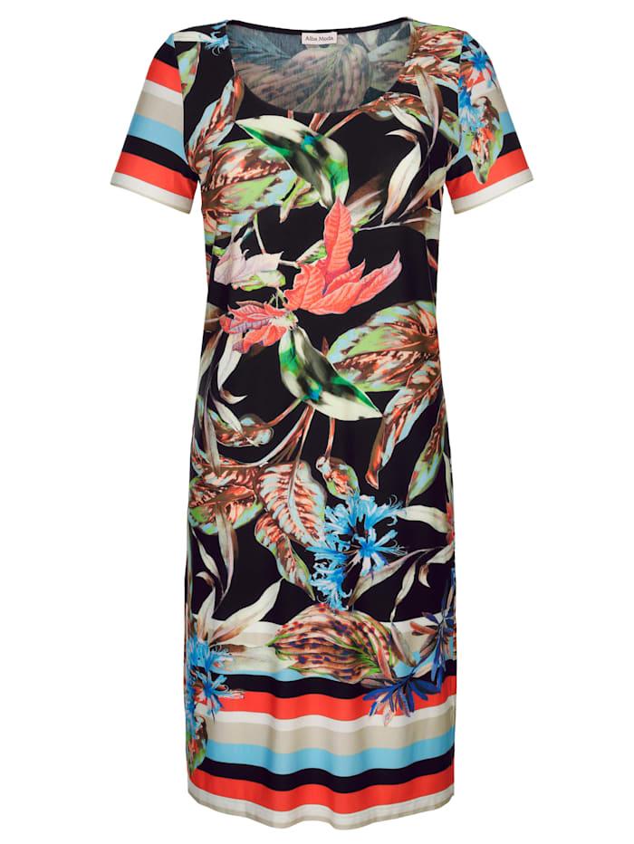 Alba Moda Strandkleid mit Blumendruck, Schwarz