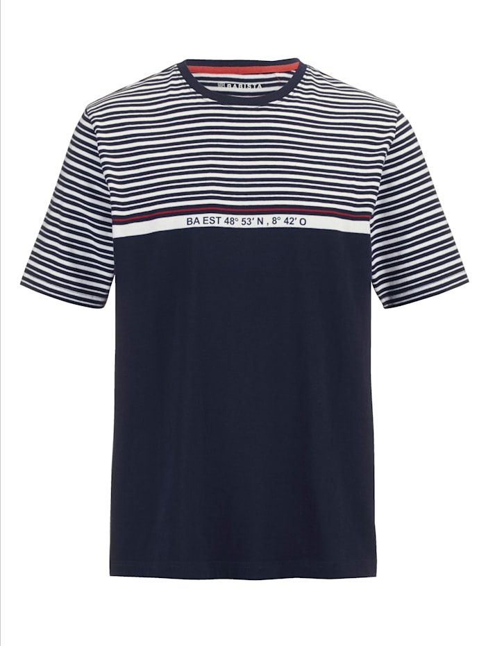 BABISTA T-shirt met coördinatenprint, Marine/Wit/Rood