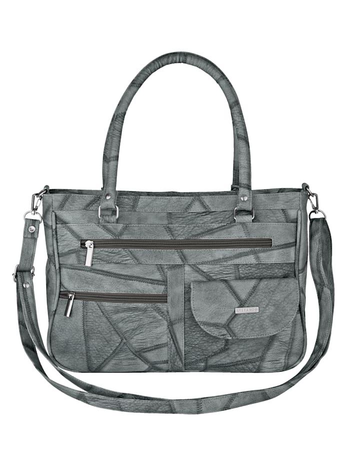 """STEFANO Väska med """"lappat"""" mönster, grå"""