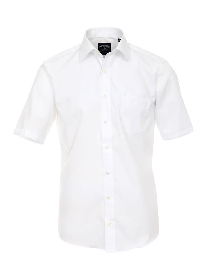 CASAMODA Hemd Halbarm uni Modern Fit Hemd mit Brusttasche, Weiß