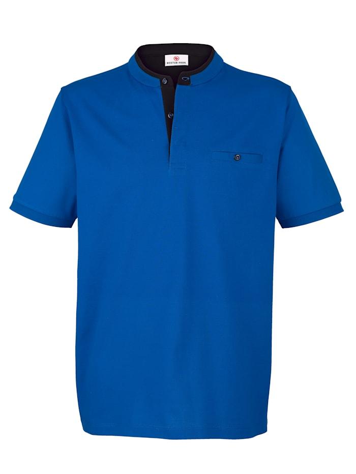 Boston Park T-shirt met opstaande kraag en knoopsluiting, Royal blue