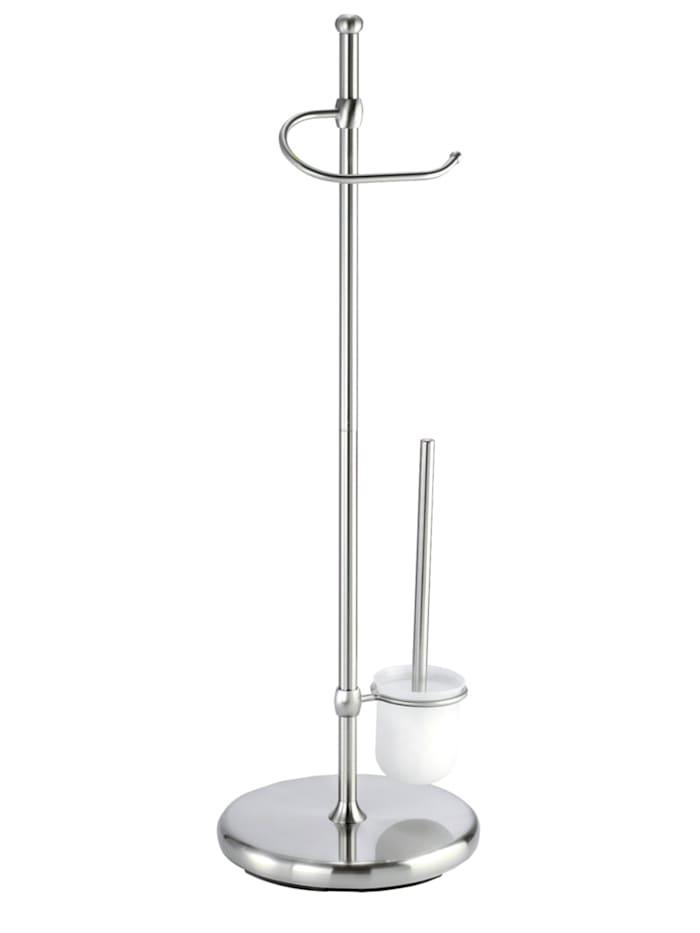 Wenko Stand WC-Garnitur Adiamo, mit Glasbehälter, Gestell: Matt, WC-Bürsteneinsatz: Satiniert