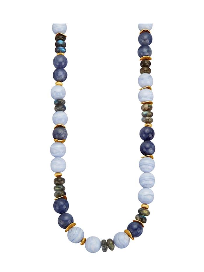 Halskette mit Chalcedonen, Iolithen und Labradoriten, Blau