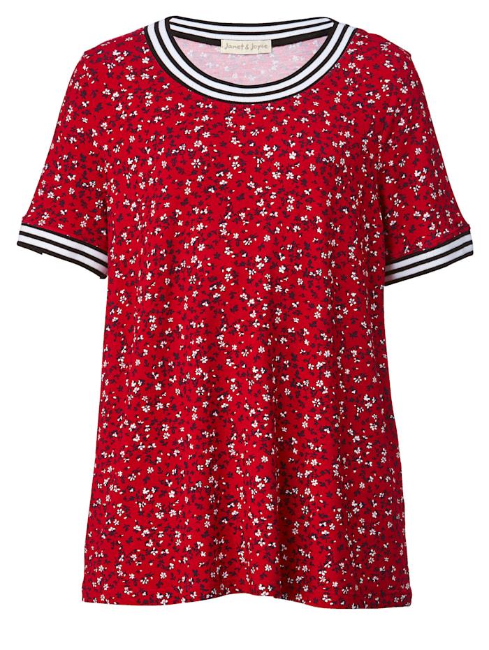 Shirt mit Rippbündchen an Ausschnitt und Ärmeln