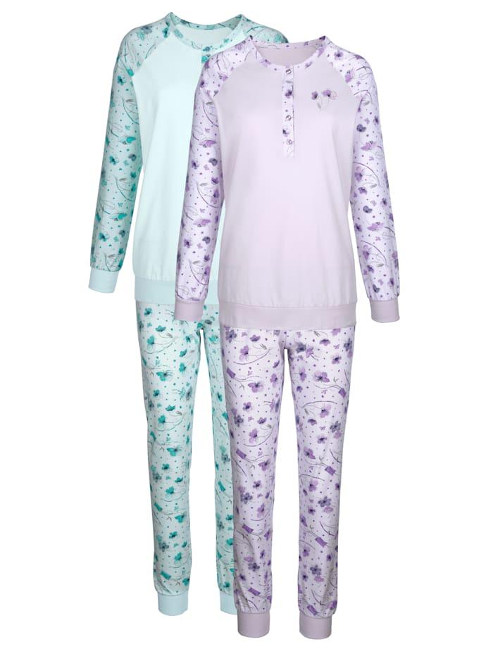 Harmony Pyžamo s raglánovými rukávy, Mátová/Šeříková