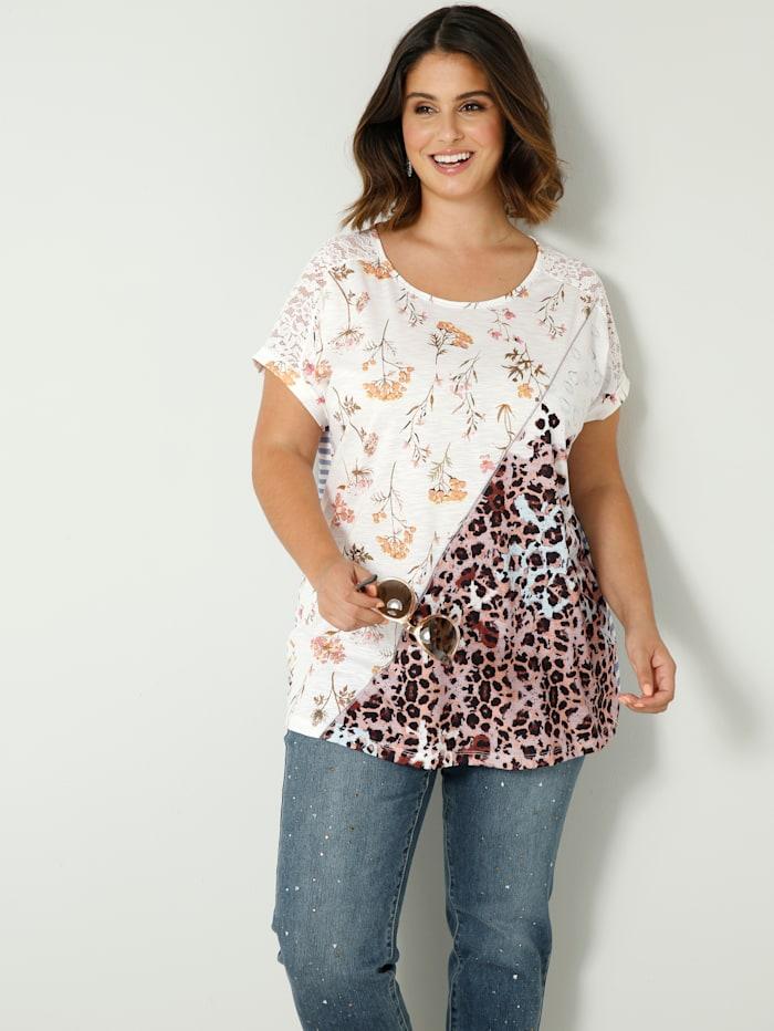 Sara Lindholm Shirt mit gestreiftem Rückenteil, Weiß/Blau