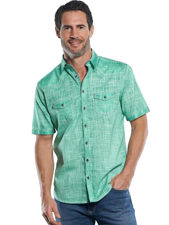 Engbers Modisch verwaschenes Halb-Leinenhemd, Petrolgrün