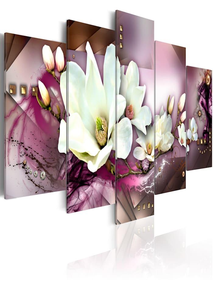 artgeist Wandbild Magnetische Abstraktion mit einer Orchidee, Grau,Violett,Weiß
