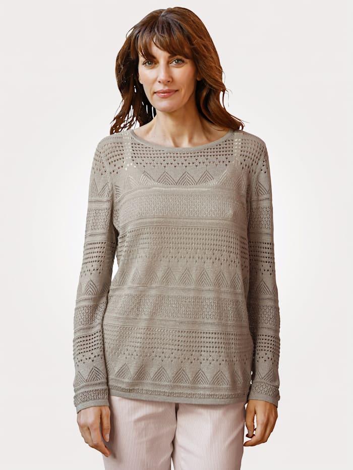 MONA Pullover aus Ajourstrick, Taupe/Goldfarben