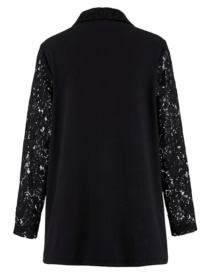 Sweatshirtjacka med transparenta spetsärmar