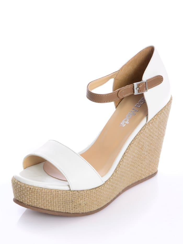 Alba Moda Sandaaltje met sleehak in jutelook, Wit