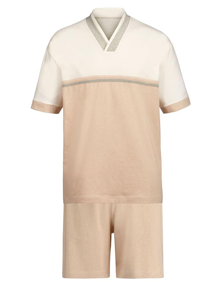 Götting Krátké pyžamo z barevně zušlechtěné bavlny, Přírodní