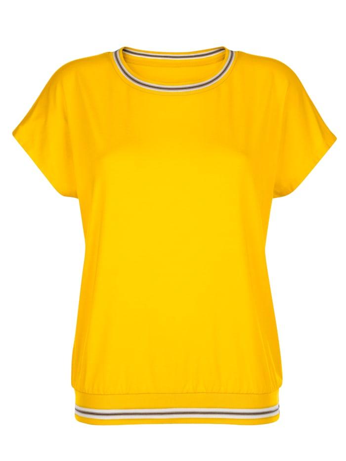 Shirt met sportieve geribde boorden
