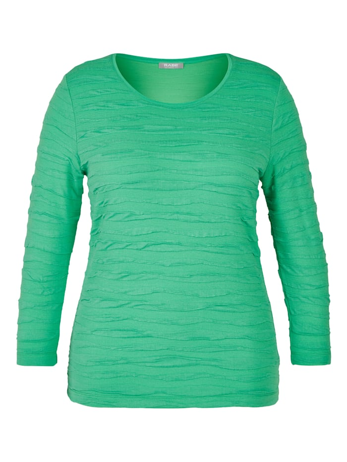 Rabe Shirt in Uni-Design mit Struktur-Muster, GRASGRUEN