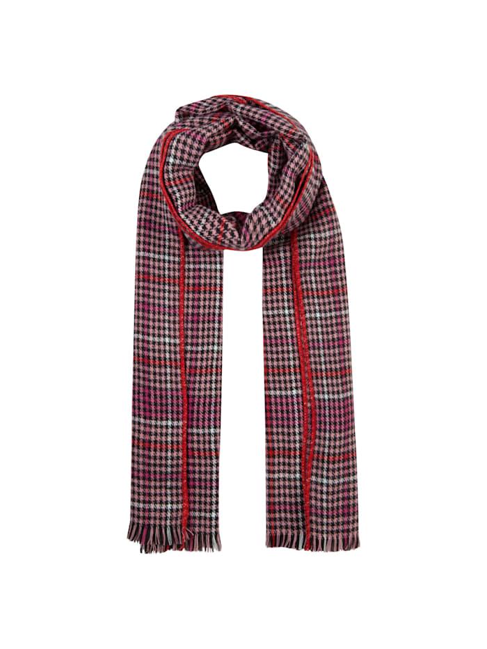 Codello Karo-Schal mit Kontrast-Stitching, dark red