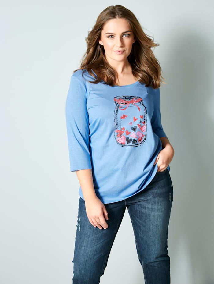 Janet & Joyce T-shirt à imprimé mode devant, Bleu fumée