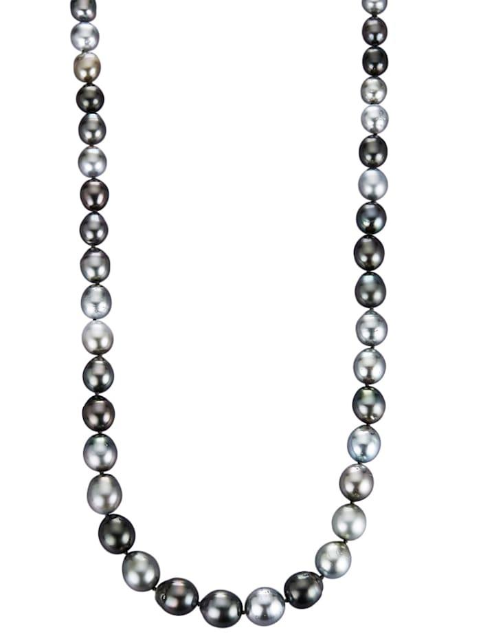 Diemer Perle Tahiti-Zuchtperlen-Kette in Barockform, Grau