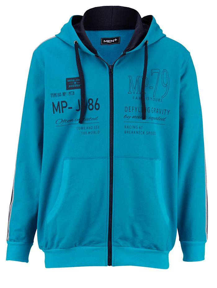 Men Plus Sweatjacke aus reiner Baumwolle, Türkis/Marineblau