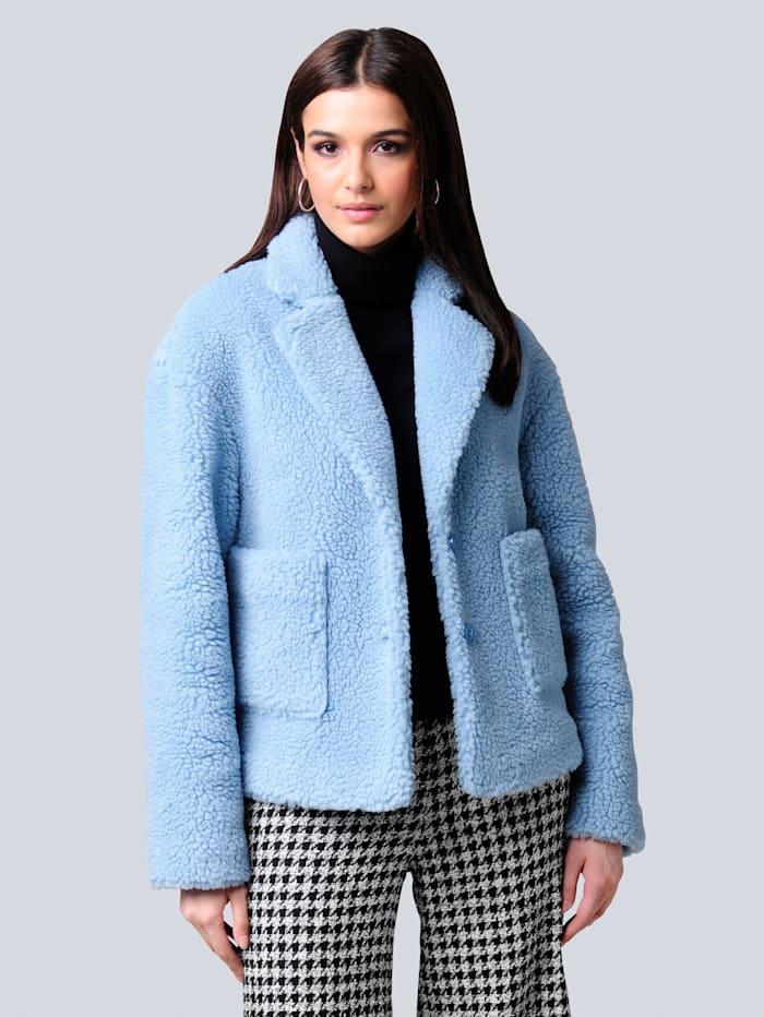 Alba Moda Jacke aus Kunstfell in Teddy-Optik, Blau