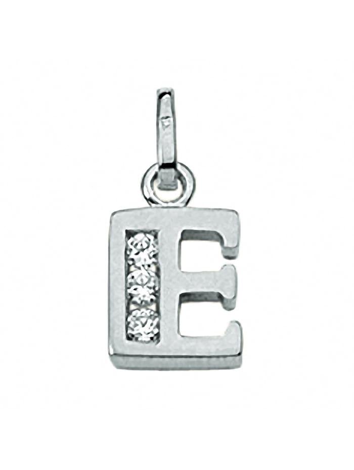 1001 Diamonds Damen & Herren Silberschmuck 925 Silber Buchstabenanhänger mit Zirkonia, silber