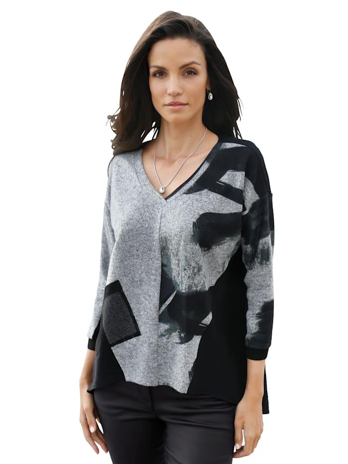 AMY VERMONT Shirt in contrastkleuren, Zwart/Grijs