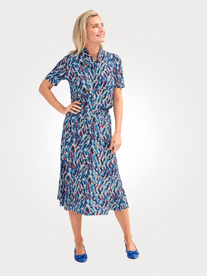 MONA Skirt with a striking print, Blue/Purple/Ecru