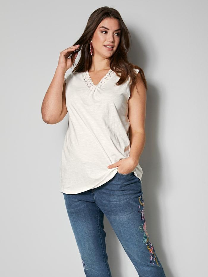 Angel of Style Top aus reiner Baumwolle, Off-white