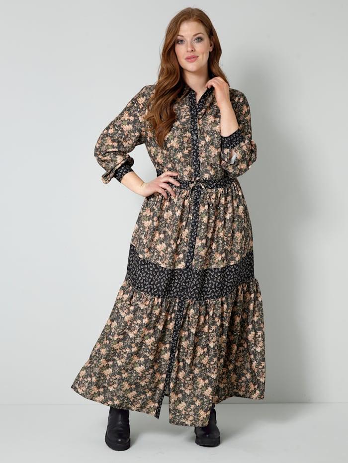 Sara Lindholm Web-Kleid mit durchgehender Knopfleiste, Schwarz/Schilf