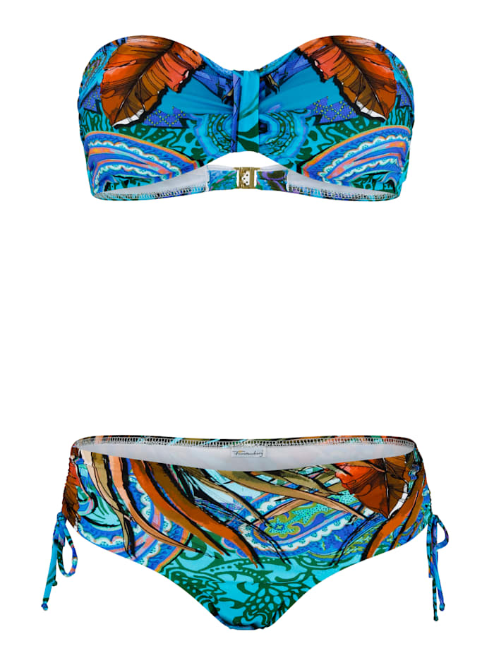 Fürstenberg Bikini forme bandeau à bandes fantaisie, Turquoise