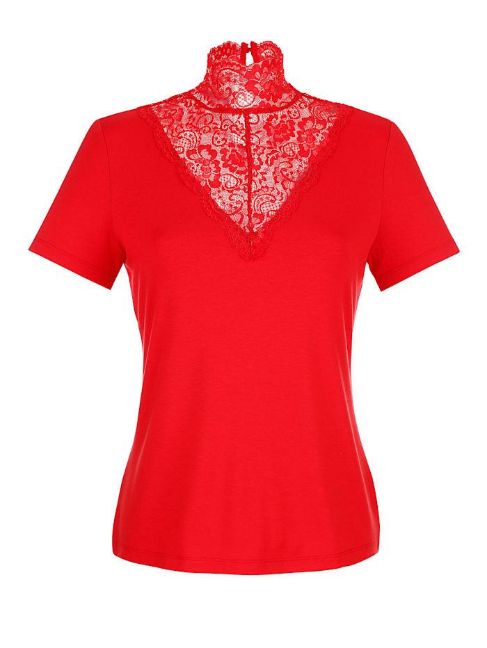 Alba Moda Shirt mit edler Spitze, Rot