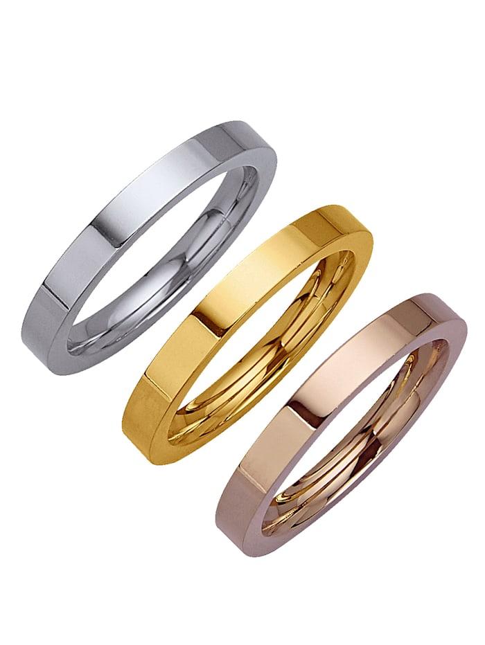 3tlg. Ring-Set aus Titan, Silberfarben/Gelbgoldfarben/Roségoldfarben