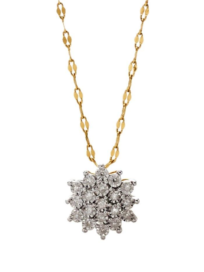 Hanger met diamanten, Geelgoudkleur